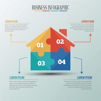 Modello infographic con casa in stile puzzle