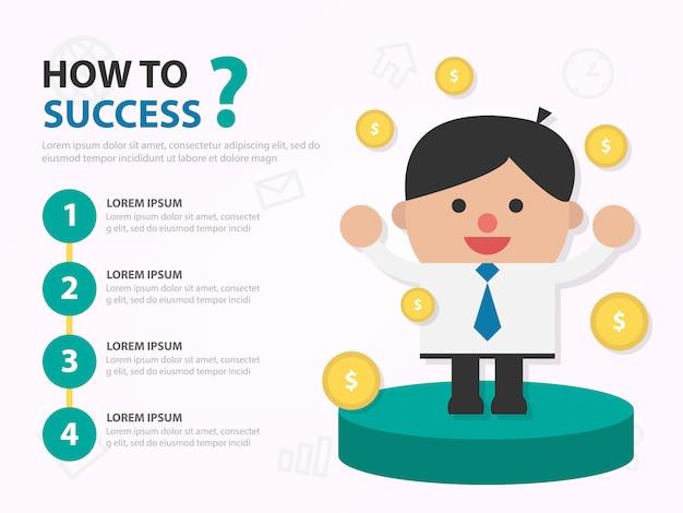 Modello infographic del fumetto dell'uomo d'affari di successo