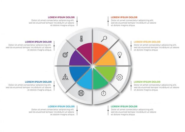 Modello infographic del grafico a torta variopinto di affari