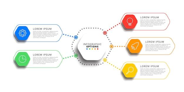 Modello infographic di 5 punti con elementi esagonali realistici su bianco