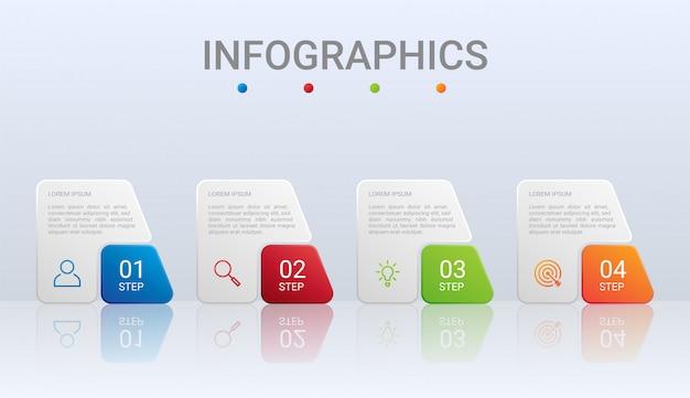 Modello infographic di cronologia variopinta con 4 punti su fondo grigio, illustrazione
