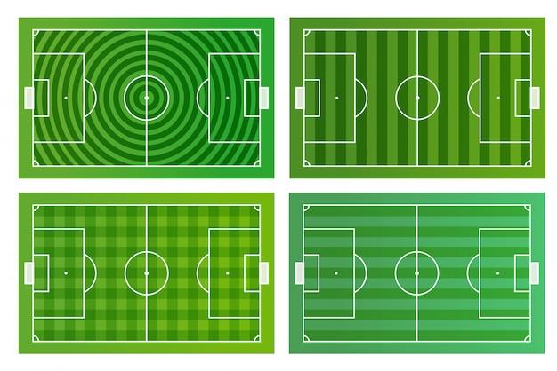 Modello infographic di diversi campi di calcio verde vettoriale