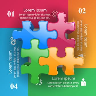 Modello infographic di puzzle 3d