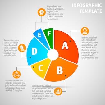Modello infographic di riunione del grafico a torta