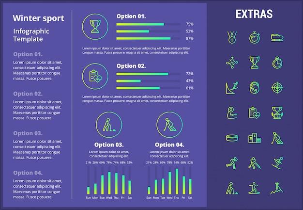Modello infographic di sport invernali, elementi, icone