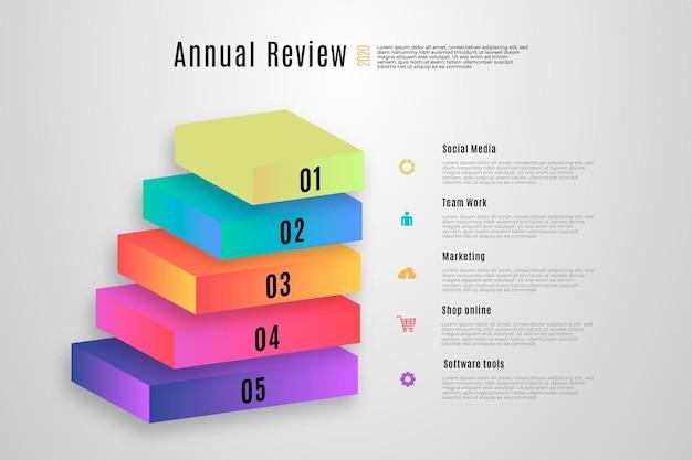 Modello infographic di strati a blocchi 3d