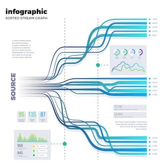 Modello infographic di vettore dell'albero trattato del diagramma di flusso