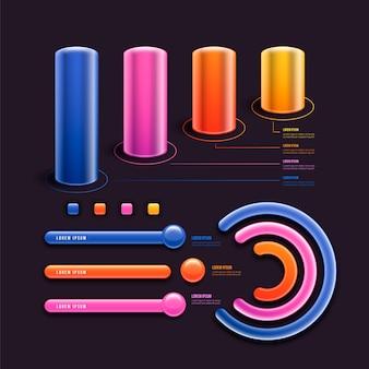 Modello infographic lucido 3d