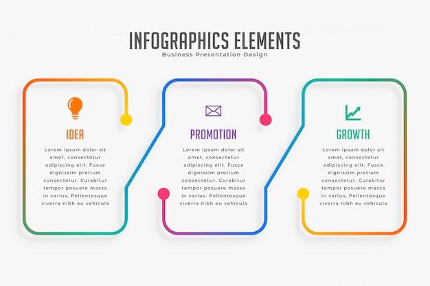 Modello infographic moderno di tre passaggi