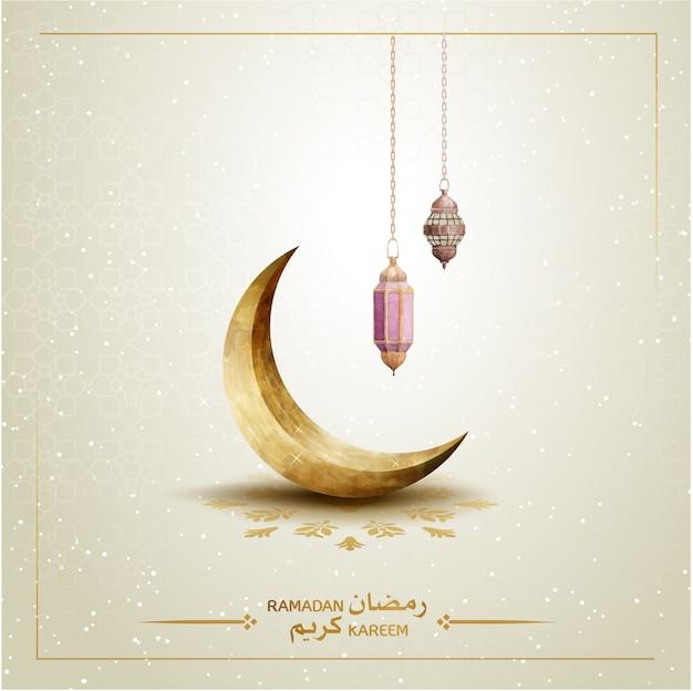 Modello islamico ramadan kareem con falce di luna