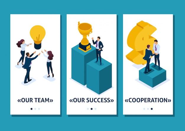 Modello isometrico app qualità di leadership. i dipendenti si rallegrano del lavoro di squadra di successo, app per smartphone. facile da modificare e personalizzare