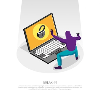 Modello isometrico con il pirata informatico che prova a incidere nel computer portatile 3d