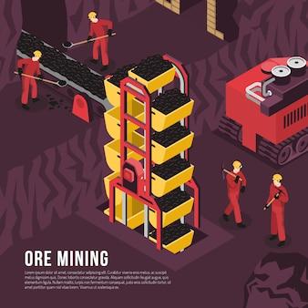 Modello isometrico del processo di estrazione mineraria del minerale metallifero