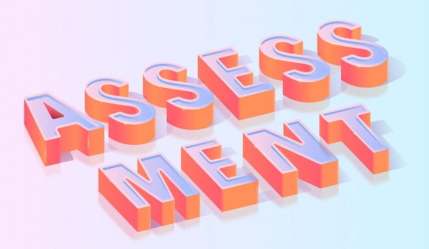 Modello isometrico del titolo del testo di valutazione