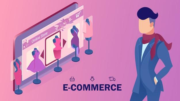 Modello isometrico dell'insegna del sito web del negozio di e-commercio