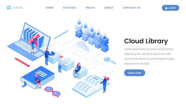 Modello isometrico della pagina di destinazione del servizio di libreria cloud