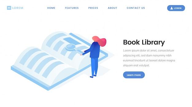 Modello isometrico della pagina di destinazione della biblioteca virtuale