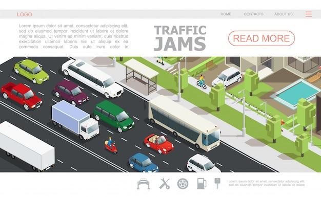 Modello isometrico della pagina web dell'ingorgo stradale con differenti automobili che passano strada in città