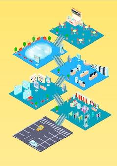 Modello isometrico di infographics del centro commerciale con la pianta all'interno degli interni e l'illustrazione di vettore del diagramma di parcheggio