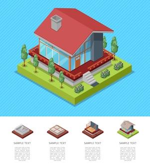 Modello isometrico di ingegneria e sviluppo della casa