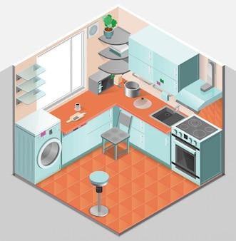 Modello isometrico interno cucina