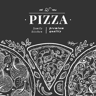 Modello italiano dell'illustrazione della pizza di vettore. illustrazione d'annata disegnata a mano sul bordo di gesso. food design italiano. può essere utilizzato per menu, packaging
