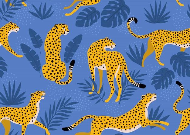 Modello leopardo con foglie tropicali. vettore senza soluzione di continuità.