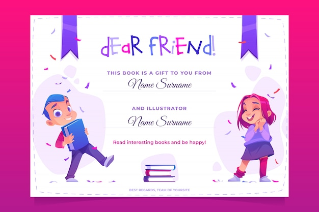 Modello libro regalo, carta regalo per bambino, volantino