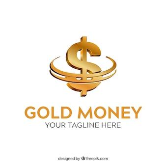 Modello logo denaro d'oro