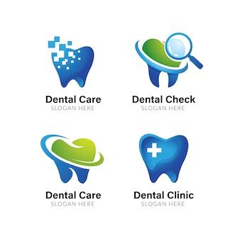 Modello logo dentale. disegno di simbolo di cura dentale