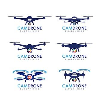 Modello logo fotocamera drone
