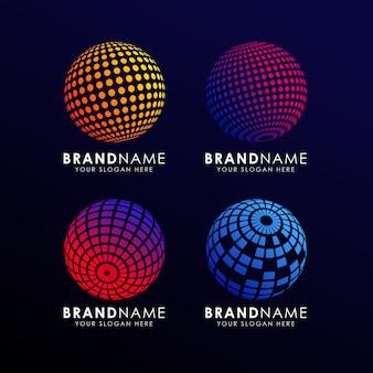 Modello logo sfera colorata