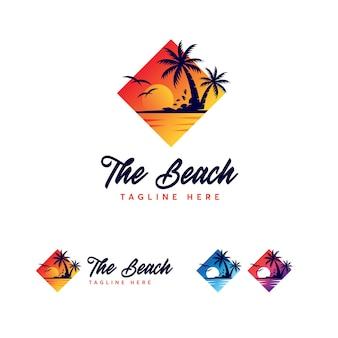 Modello logo spiaggia premium