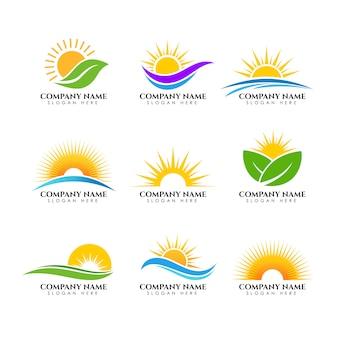 Modello logo sunrise. modello di logo del sole