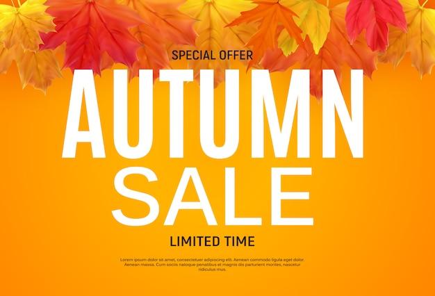 Modello lucido di autumn leaves sale banner