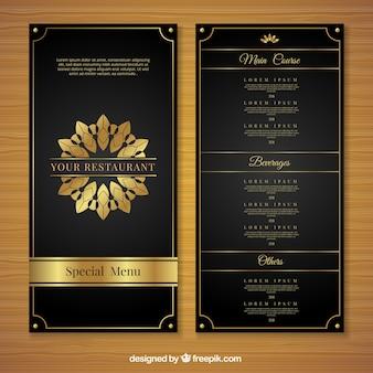 Modello menu dorato con stile di lusso