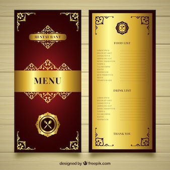 Modello menu dorato con stile gotico