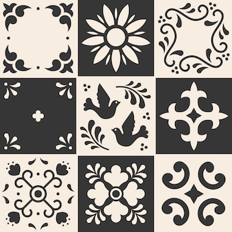 Modello messicano talavera. piastrelle in ceramica in stile tradizionale di puebla. mosaico floreale del messico in blu e bianco.