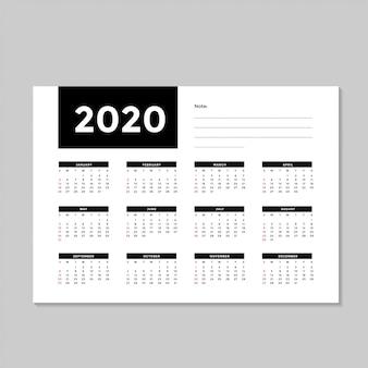Modello minimalista calendario 2020