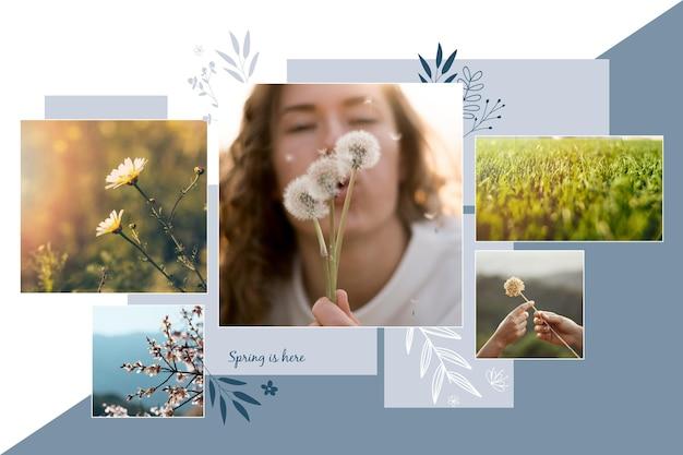 Modello minimalista di collage di foto