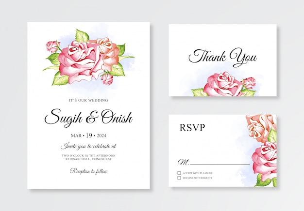 Modello minimalista di set di carte di invito di nozze con pittura ad acquerello floreale