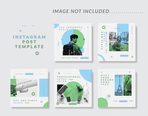 Modello minimalista di social media instagram post per il viaggio