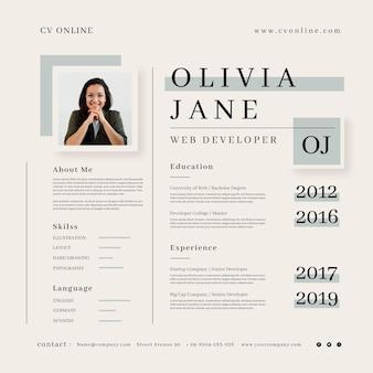 Modello minimalista online cv con foto