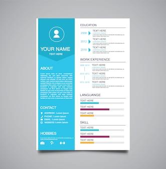 Modello minimalista professionale curriculum vitae azzurro