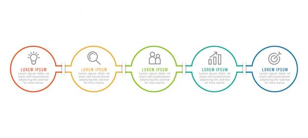 Modello minimo di infographics di affari con cinque punti
