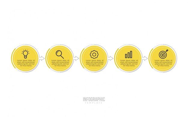 Modello minimo di infographics di affari