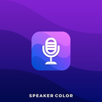 Modello mobile dell'illustrazione di applicazione dell'icona del microfono