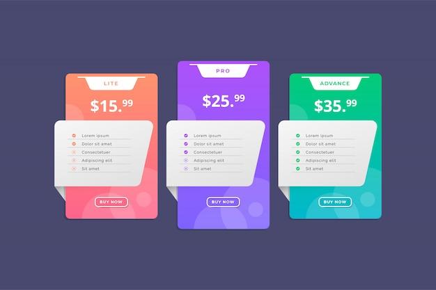 Modello moderno colorato tabella dei prezzi