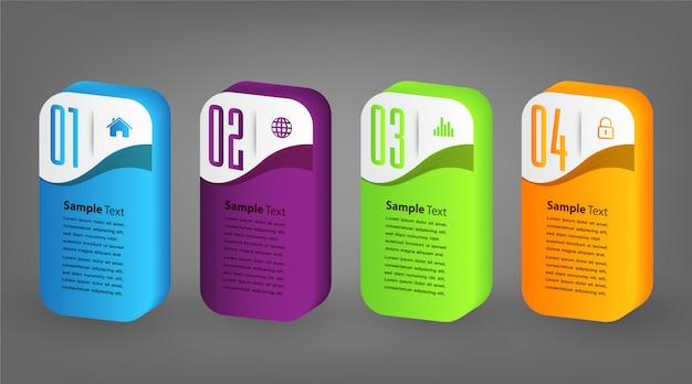 Modello moderno della casella di testo di carta, insegna infographic del fumetto 3d