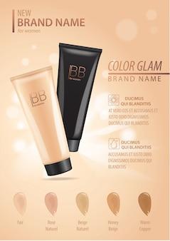 Modello moderno di annunci cosmetici, compongono fondotinta liquido. tubo di crema per il viso di colore beige con gocce di crema isolato
